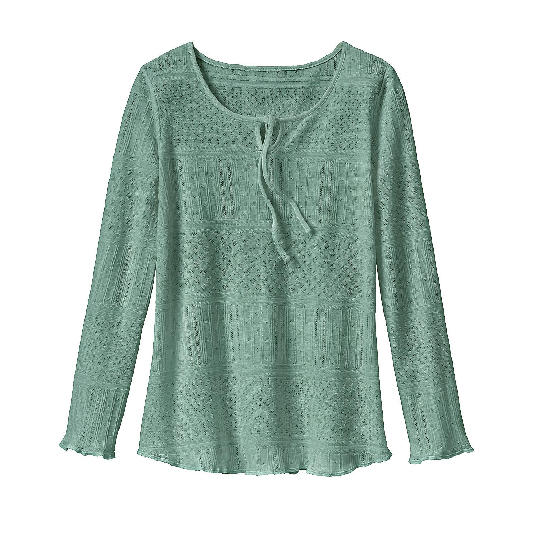 enna Feminien ajour-shirt met druppelhals, jade | Waschbär Eco-Shop from Waschbär