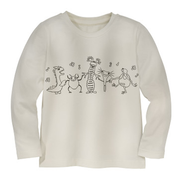 Shirt met lange mouw om in te kleuren monsters, natuurwit