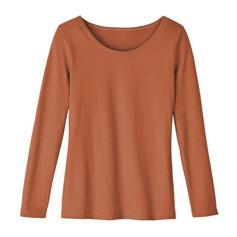 Shirt met ronde hals van bio-katoen, terra 42