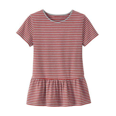 Shirt met korte mouw, grijs/ kers-gemêleerd 44