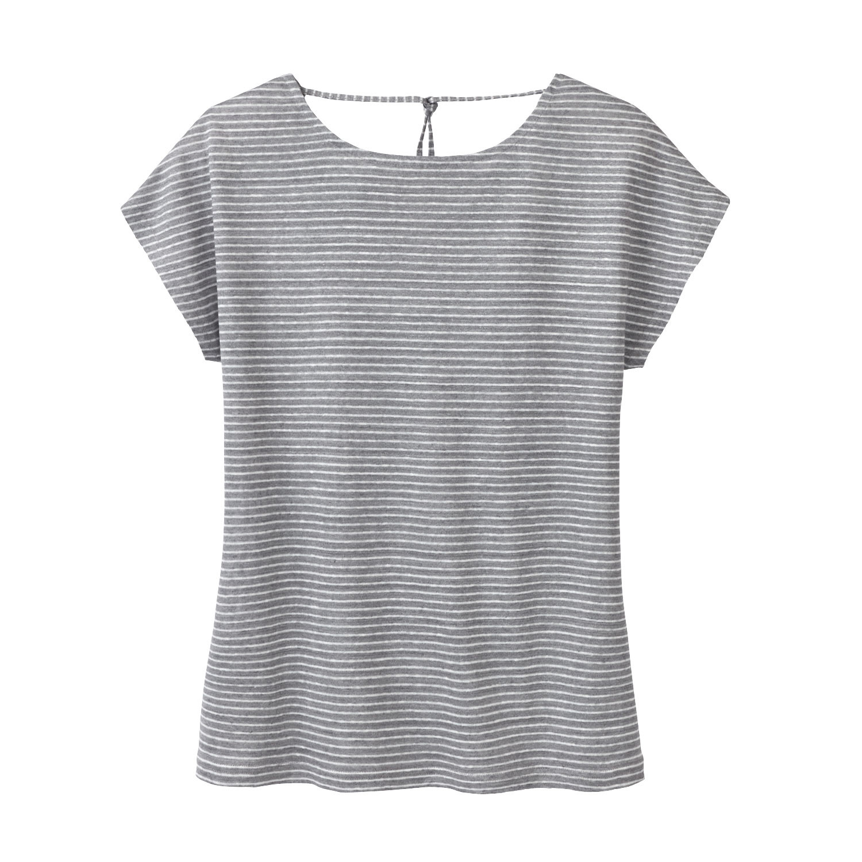 Enna Linnen-jersey shirt, grijs-gestreept | Waschbär Eco-Shop from Waschbär