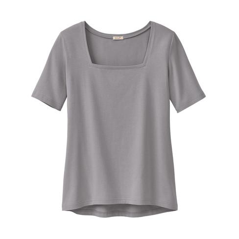 Carr�-shirt van bio-katoen, zilvergrijs 42