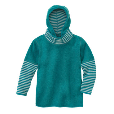 Keerbare kinderpullover van bio-fleece, smaragd/naturel