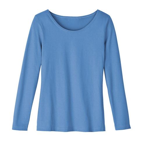 Shirt met ronde hals van bio-katoen, jeansblauw 44