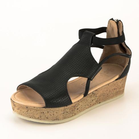 Plateau-sandaal, zwart 38