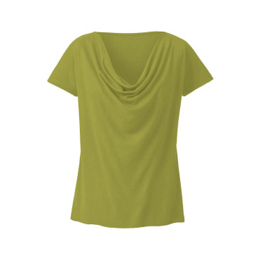 Shirt met watervalhals, avocado