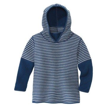 Keerbare kinderpullover van bio-fleece, Atlantisch blauw/naturel