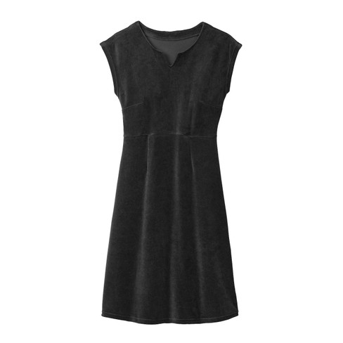 Velours jurk, zwart 44