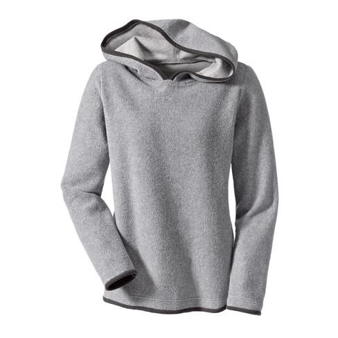 Biokatoenen fleece pullover met capuchon, grijs/antraciet 40/42