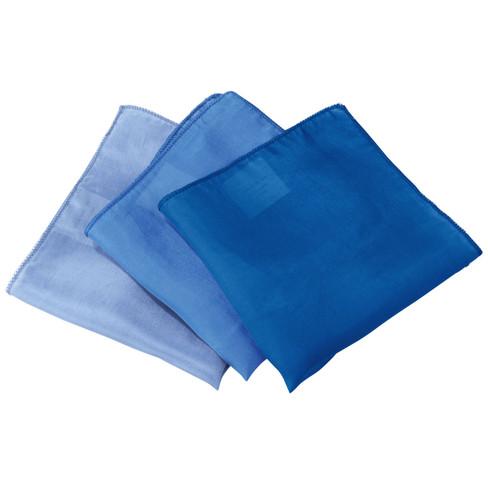 Set doekjes van biologische zijde, blauwe tinten l 87 x b 87 cm