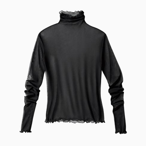 Shirt met lange mouwen uit biologische zijde, zwart 34