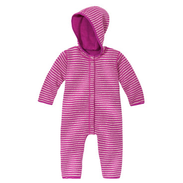 Omkeerbare fleece baby-overall, fuchsia/naturel
