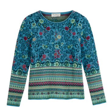 Jacquard pullover, jeans-motief