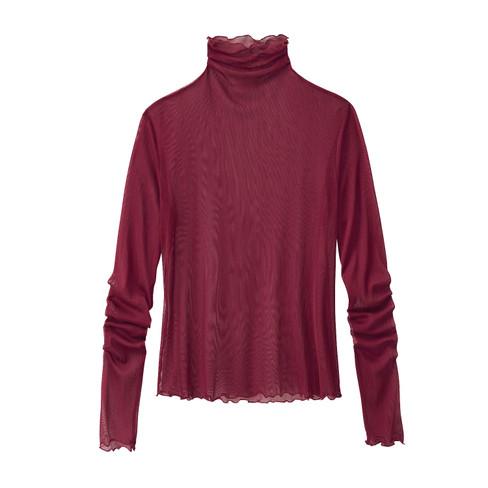 Shirt met lange mouwen uit biologische zijde, portowijn 40/42