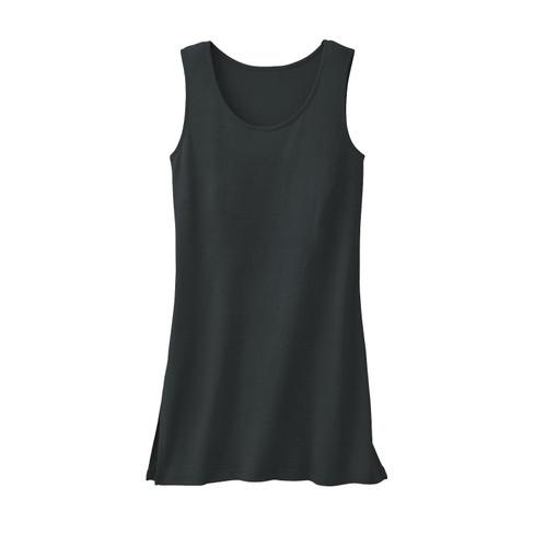 Longtop van bourrette zijde, zwart 36/38