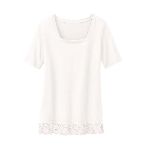 Carr�-shirt met kant, natuurwit 36