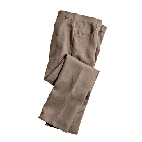 Linnen broek in 5-Pocket-Style, taupe 52