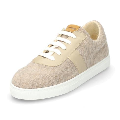Wol-sneaker met leer, beige-gemêleerd 37
