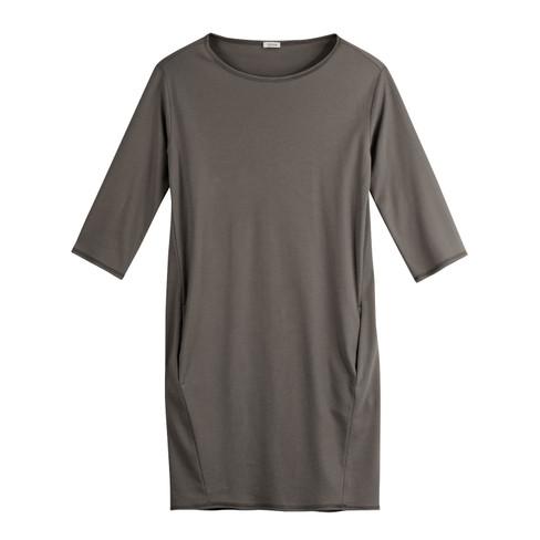 Jersey jurk, taupe 44/46
