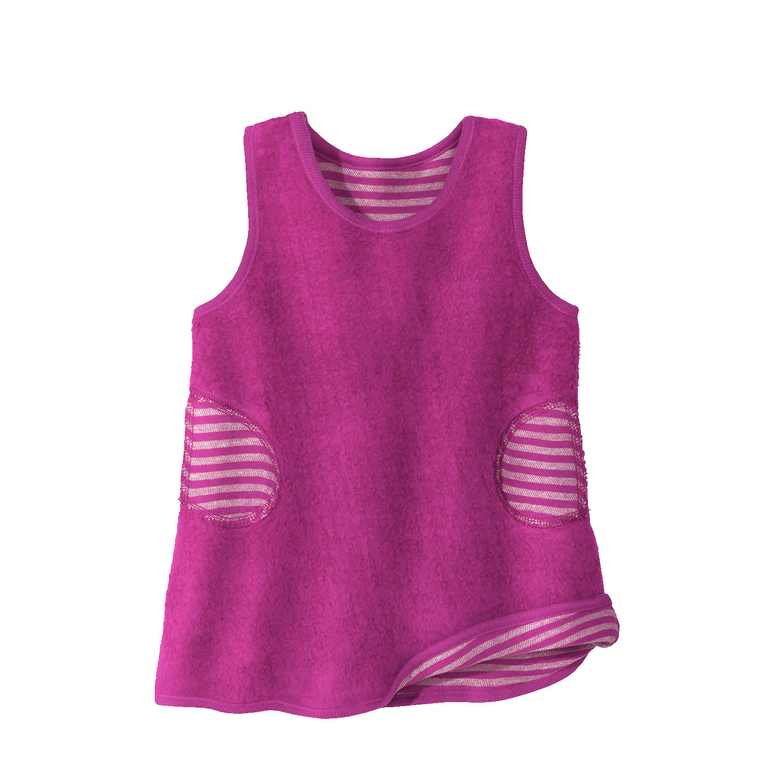 Omkeerbare fleece babytunica, fuchsia/naturel