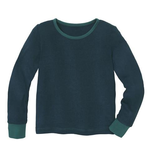 Shirt met lange mouw van bourrette zijde, petrol 110/116