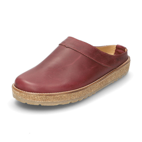 "Leren clog ""Neo"", bordeauxrood"