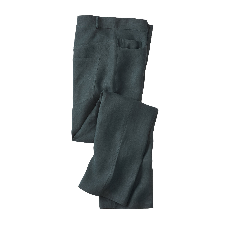 GRÜNHELD Linnen broek in 5-Pocket-Style, taxus | Waschbär Eco-Shop from Waschbär