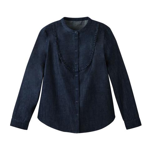 Jeansblouse van bio-katoen met bovenstuk met ruches., jeans 44