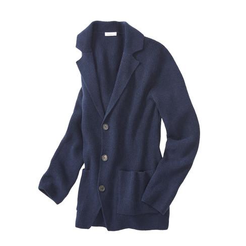 Elegant gebreid jasje met brede reverskraag, nachtblauw XL