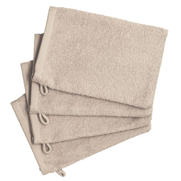 Bio-washandje, set van 4, naturel-beige gemêleerd