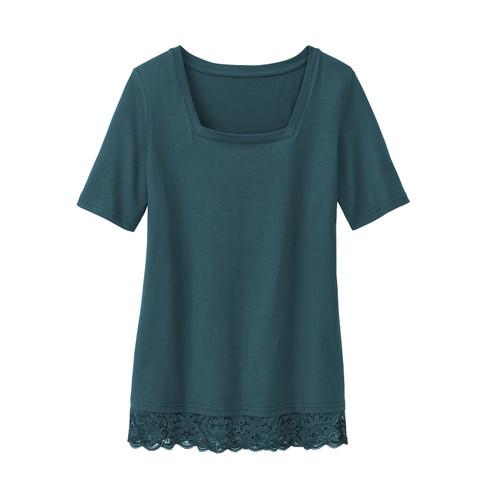 Carr�-shirt met kant, smaragd 36