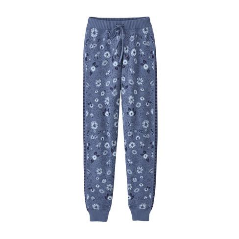 Jacquard joggingbroek van bio-katoenen breisel, jeans-motief 40/42