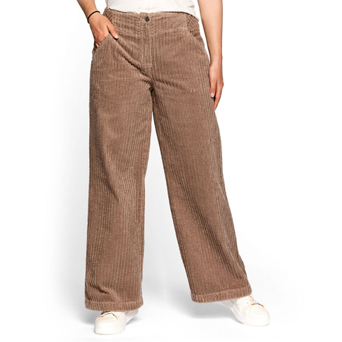 Ribcord broek, taupe