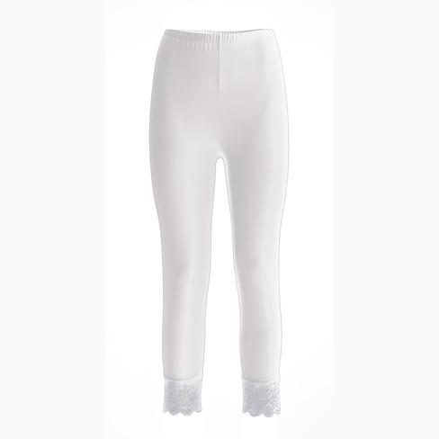 3/4-legging van bio-katoen met elastaan, Wit 42