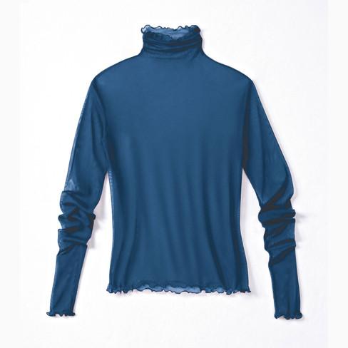 Shirt met lange mouwen uit biologische zijde, nachtblauw 40/42