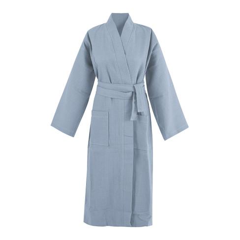 Bio-wafelpiqu� badjas, nachtblauw XL