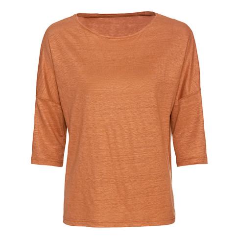 Linnen-jersey shirt met ronde hals en 3/4-mouwen, kaneel 36/38