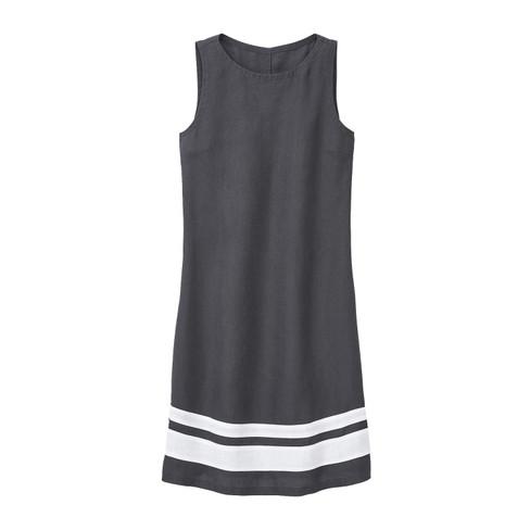 Linnen jurk, leisteen/wit 40