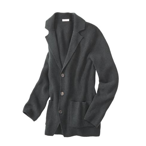 Elegant gebreid jasje met brede reverskraag, antracietgrijs XL