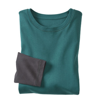 2-in-1 shirt met lange mouwen, petrol/leisteen