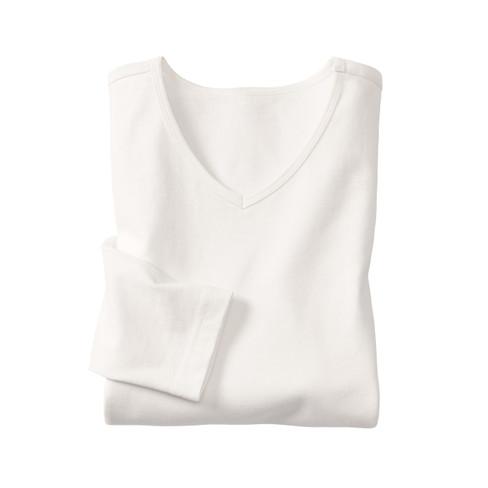 Gruenheld Shirt met lange mouwen en V-hals, naturelwit | Waschbär from Waschbär