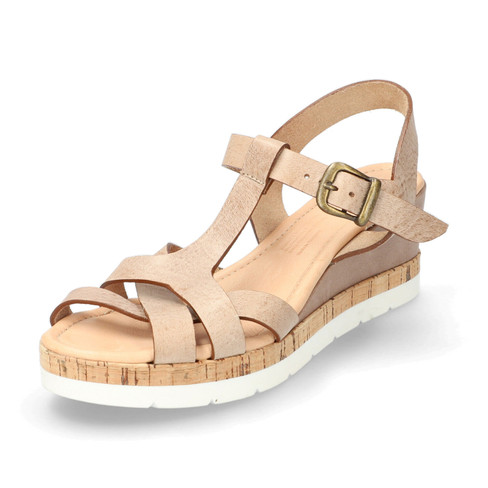 Sandalen met sleehak, zand 39