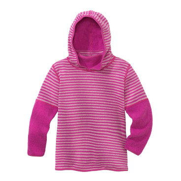 Keerbare kinderpullover van bio-fleece, fuchsia/naturel