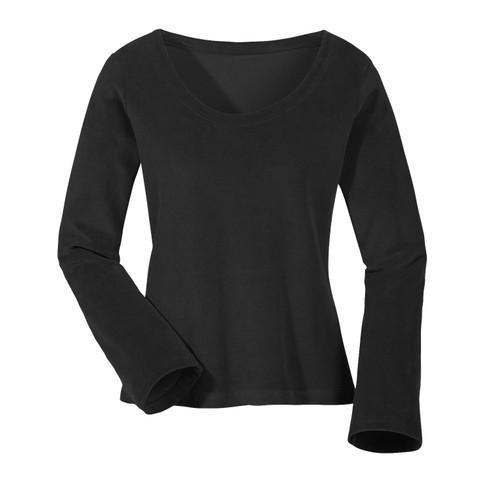 Biokatoenen nicki shirt met ronde hals, zwart 40/42