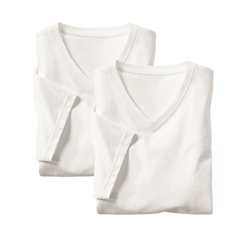 Dubbelpak V-halsshirt met korte mouwen, natuurwit M