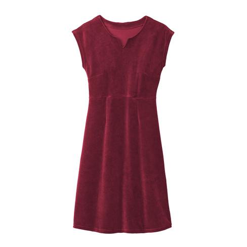 Velours jurk, robijn 34