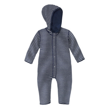 Omkeerbare fleece baby-overall, blauw/naturel