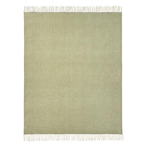 Scheerwollen deken, groen-melange 140 � 200 cm