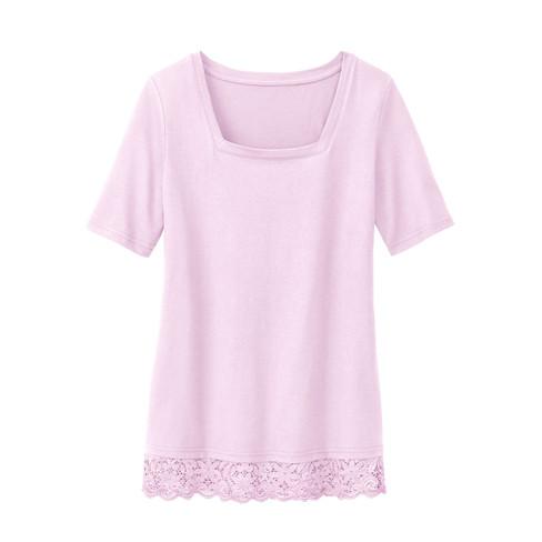 Carr�-shirt met kant, mauve 40