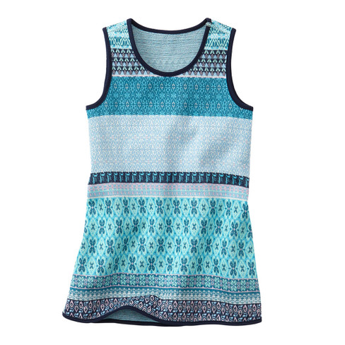 Gebreide jurk, waterblauw-motief 122/128